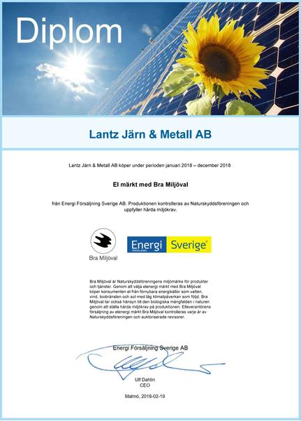 Diplom i el märkt med bra miljöval - Lantz Järn & Metall AB